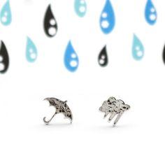 Sadepilvi-korusarjan hopeisetkorvakorut.Taottua ja kiillotettua hopeaa. Cufflinks, Stud Earrings, Accessories, Jewelry, Jewlery, Jewerly, Stud Earring, Schmuck, Jewels
