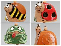 Ceramic Animal Bells Bee Ladybird Frog Snail. by Molinukas, €5.00