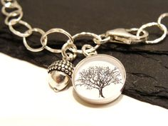 Mighty Oaks From Little Acorns Grow - Sterling Silver Charm Bracelet with Silver Acorn Charm and Woodland Tree Charm
