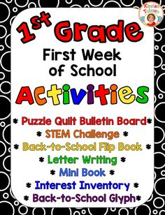 Are you teaching 1st grade? These back to school activities are easy to use and are created especially for 1st grade (other grade levels available... click the link and find them in the product description). This beginning of the year activity product includes a glyph, a STEM challenge, a flip book, a mini-book, an interest inventory, and a beginning of the year bulletin board activity. Start your year off on the right foot with these easy to use, get to know you activities for your…