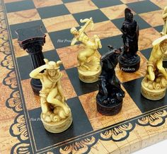**** GREEK ROMAN MYTHOLOGY GODS CHESS SET W/ LARGE LEATHER WORLD MAP BOARD 18