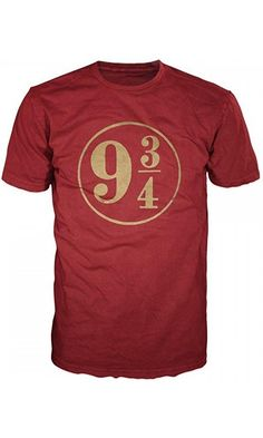 Harry Potter 9 3/4 Mens Red T-Shirt (Medium) Best Price