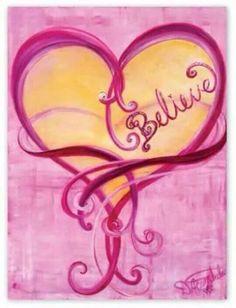 Pink heart believe