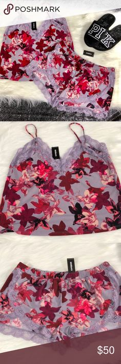 Express lace floral sleep set NWT includes both pieces slippers sold separate open to reasonable offers, no trades🎀 bundle for discount Express Intimates & Sleepwear Pajamas