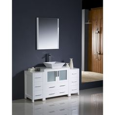 Fresca Torino 54-inch Modern Bathroom Vanity with 2 Side Cabinets and Vessel Sink