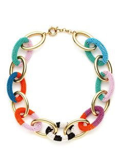 Noir Jewelry Gold & Multicolor Bead Short Link Necklace - like mine!!