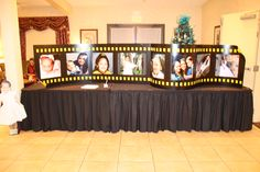 Hollywood Movie Reel held pictures of the Birthday girl from baby until today. The tiny girl on the left is a picture of the Quinceanera on a standee. Birch Meadow in Bloomfield, CT. Hollywood Sweet 16, Hollywood Party, Hollywood Themed Parties, Movie Themes, Party Themes, Party Ideas, 15th Birthday, Girl Birthday, Grad Parties