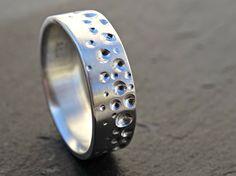 beach wedding ring ocean mens promise ring silver by CrazyAssJD