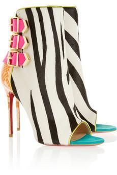 Christian Louboutin Triboclou 100 zebra-print calf hair and python ankle boots