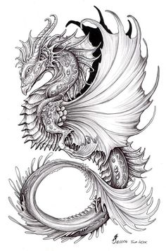 69 ideas tattoo dragon color ink for 2019 Dragon Tattoo Designs, Best Tattoo Designs, Celtic Dragon Tattoos, Colouring Pages, Adult Coloring Pages, Mandala Dragon, Sea Dragon, Dragon Coloring Page, Dragon Sketch