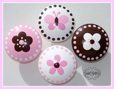 Kids Dresser Knobs or Nail Cover Flowers Butterfly and Polka Dots Hand Painted