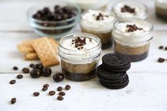 coffee parfait; the crust is made from a combination of graham crackers and oreo cookies, the coffee pudding is spiked with a little Kahlua coffee liqueur; the espresso whipped cream has chunks of chopped chocolate covered espresso beans