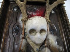 Altered art doll skull with antlers assemblage with vintage album antique nails mixed media art by Twistedcopperforest on Etsy