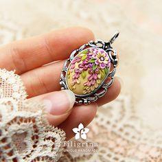 VINTAGE SPRING Easter floral pendant, filigree silver tone metal bezel, polymer clay, handmade. Decorated Easter egg. Elegant gift for her