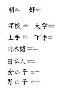 朝 (asa) mañana 好き (suki) gustar 学校 (gakko) escuela 大学 (daigaku) universidad 下手 (heta) malo en 日本語 (nihongo) japonés (idioma) 日本人 (nihonjin) japonés (persona) 女の子 (onnanoko) chica 男の子 (otokonoko) chico