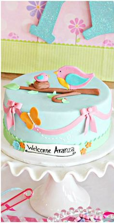 Bird Baby Shower Party cake!  See more party ideas at CatchMyParty.com!