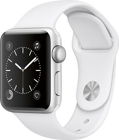 Apple - Apple Watch Series 2 38mm Silver Aluminum Case White Sport Band - Silver Aluminum