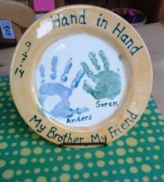 """""""Hand In Hand, My Brother My Friend"""" Handprint Plate Painted By Customer #pottery #ceramics #handprints"""