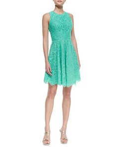 """Sleeveless Full-Skirt Lace Dress by Shoshanna at Neiman Marcus.    Lace dress by Shoshanna.     Approx. measurements: 35""""L from shoulder.     Jewel neckline.     Sleeveless with cut-in shoulders.     A-line silhouette; full, handkerchief hem.     Hidden back zip.     Cotton/nylon/rayon; acetate lining.     Original: $395.00 NOW: $138.00"""