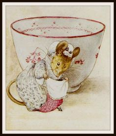 """Mouse and a Tea Cup by Beatrix Potter Art Print 8 x 10"""""""