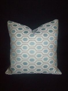 Ice blue and brown geometric pillow cover by TheVintageBow on Etsy, $16.95