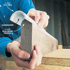 Curvy Sanders: Make your own curved sandpaper using PVC pipe! #woodworking #DIY #tip
