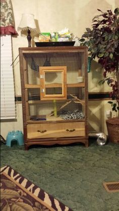 DIY ferret cage out of a old dresser which I found for $5.00