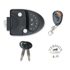 RVLock Keyless- easy to install keyless entry handles for fifth wheels, travel trailers, campers, and horse trailers. Features an integrated keypad and remote fob.