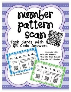Number Pattern Task Cards - Identify the number patterns and check your work with QR Codes. Math Patterns, Number Patterns, Maths Algebra, Second Grade Math, Math Numbers, Math Workshop, Common Core Math, Math Stations, Technology