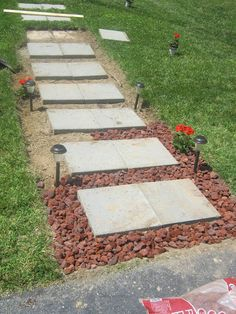The former owner of our house had built a simple walkway from the driveway to the front door using a series of cement pavers. The walkway w. Outdoor Landscaping, Front Yard Landscaping, Landscaping Design, Paver Walkway, Cement Pavers, Walkway Ideas, Paver Sand, Paver Edging, Paver Stones