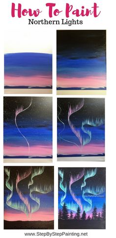 Paint an aurora borealis skyline with this easy to follow step by step acrylic painting tutorial for beginners.