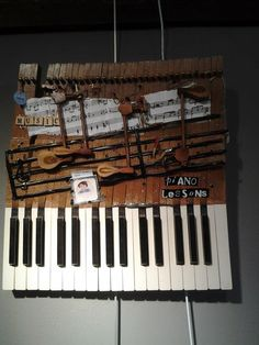Recycled Piano Art - made from vintage piano keys and hammers.  MarvelousJunque.com