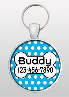 Pet ID Tag - Dog Name Tag - Blue Dog Tag - Vintage 50s Inspired Dog Tag - Gifts for Boy Dogs - Gifts Under 10 - Dog ID Tag - Design No. 243