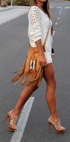Boho fringe - cute sweater and heels....wasn't sure whether to put this under fashion or fitness....