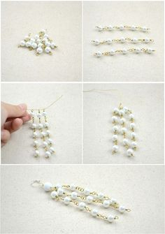 How to make a wire necklace. Wire Jewelry Making Design Long Pearl Necklace And Earrings  - Step 6