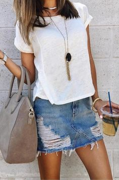 #fall #outfits White Tee + Ripped Denim Skirt