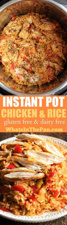 This amazing Instant Pot Chicken and Rice dish is gluten free and dairy free! Detailed instructions on how to make it in the Instant Pot are included.