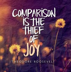Comparison is the thief of joy. -Theodore Roosevelt (Maybe about the muckrackers) :)