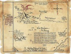 This map, which details the whereabouts of Erebor and The Lonely Mountain, originally belonged to the dwarven King Under The Mountain, Thrór, and