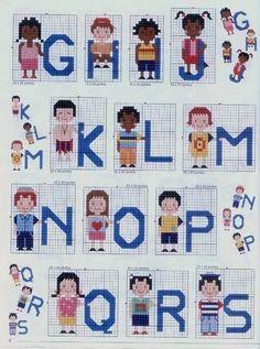 Alfabeto con niños para punto de cruz.