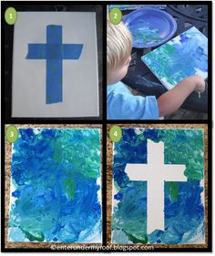 Feast of the Exaltation of the Holy Cross Activity – Faith and Fabric Children's Church Crafts, Catholic Crafts, Easter Cross, Easter Art, Holy Week Activities, Bible Crafts For Kids, Jesus Crafts, Cross Art, Cross Crafts
