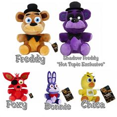 """Five Nights At Freddy's FNAF Set of 5 Collectible 6"""" Plush Figures - Freddy, Shadow Freddy (Hot Topic Exclusive), Foxy, Chica, & Bonnie - (Brand New with Original Tags Attached) Series 1"""