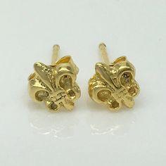Fleur De Lis Post Earrings Gold Men S Stud Unique Gifts 466 Yellow