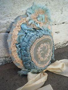 Antique lace, satin French doll bonnet, beautiful details, antique dolls | eBay