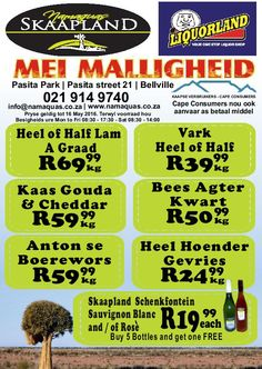 Speicals is valid untill the 16 May 2016 at Skaapland Tyger Valley Butchery Park, Parks