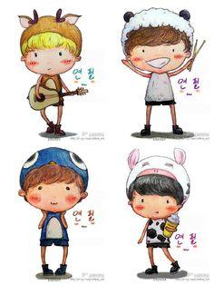 CNBLUE FAN ART- Jong Hyun, Min Hyuk, Jung Shin, Yong Hwa    kyeopta!!!    cr: to owner - Tumblr