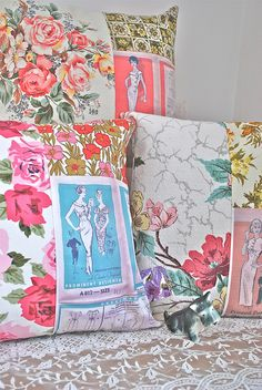pretty pattern pillows by blondiebluvintage, via Flickr