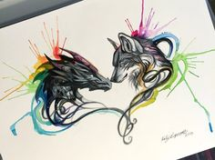 161- Dragon and Wolf Splash (On Ebay) by Lucky978.deviantart.com on @DeviantArt