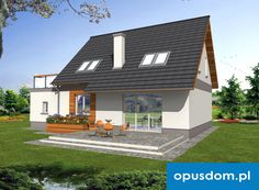 Mona w. B - projekt domu 104,6m2 autorstwa OPUSDOM.PL Houses, How To Plan, Mansions, House Styles, Outdoor Decor, Home Decor, Homes, Decoration Home, Manor Houses