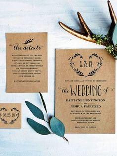 Introduce your rustic wedding with a DIY wedding template wreathed in love featuring lush fern detail silhouettes against a cashmere background.